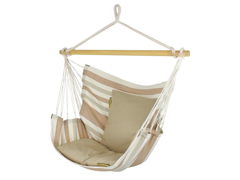Fotel wiszący SOFA - paski brązowe, beżowe i jasnozielone
